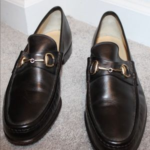 Men Gucci Black  Leather loafers  size 11 D
